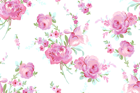 Olivia sorbet on white fabric by lilyoake on Spoonflower - custom fabric