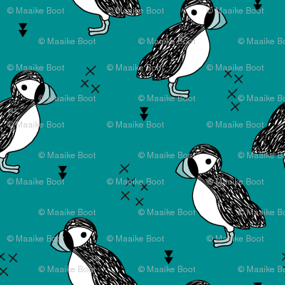 Sweet little puffin bird Scandinavian animals illustration print for kids teal