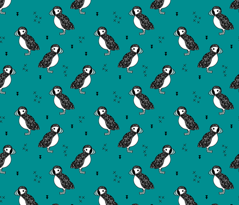 Sweet little puffin bird Scandinavian animals illustration print for kids teal  fabric by littlesmilemakers on Spoonflower - custom fabric
