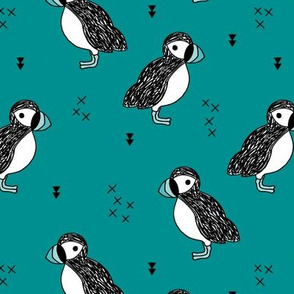 Sweet little puffin bird Scandinavian animals illustration print for kids teal