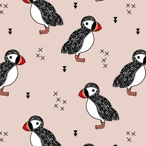 Sweet little puffin bird Scandinavian animals illustration print gender neutral