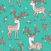 Dreamy Deer with Flowers Floral Woodland Forest on Green Teal