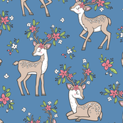 Dreamy Deer with Flowers Floral Woodland Forest on Dark Blue Navy