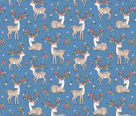 Dreamy Deer with Flowers Floral Woodland Forest on Dark Blue Navy fabric by caja_design on Spoonflower - custom fabric