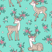 Dreamy Deer with Flowers Floral Woodland Forest on Mint Green