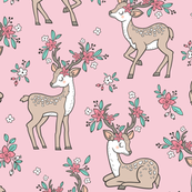 Dreamy Deer with Flowers Floral Woodland Forest on Light Pink