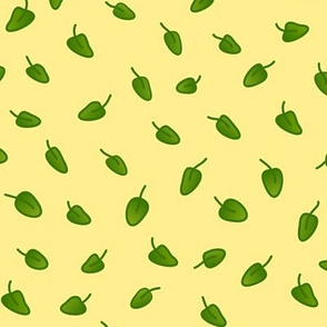 Green leaves or abstract foliage on very pale yellow