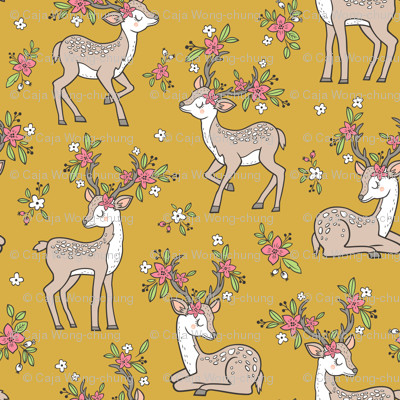 Dreamy Deer with Flowers Floral Woodland Forest on Mustard Yellow