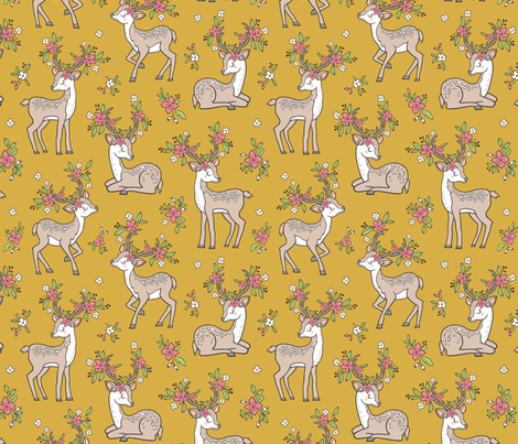Dreamy Deer with Flowers Floral Woodland Forest on Mustard Yellow fabric by caja_design on Spoonflower - custom fabric
