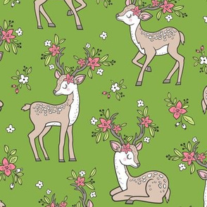 Dreamy Deer with Flowers Floral Woodland Forest on Green