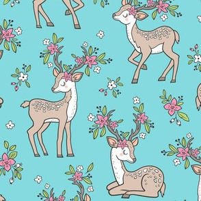 Dreamy Deer with Flowers Floral Woodland Forest on Aqua Blue