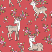 Dreamy Deer with Flowers Floral Woodland Forest on red