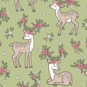 Dreamy Deer with Flowers Floral Woodland Forest on Olive Green