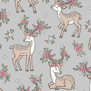 Dreamy Deer with Flowers Floral Woodland Forest on Grey