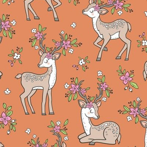 Dreamy Deer with Flowers Floral Woodland Forest on Copper