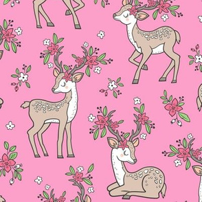 Dreamy Deer with Flowers Floral Woodland Forest on Pink