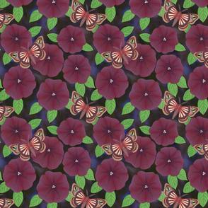 purple petunias with demon moths