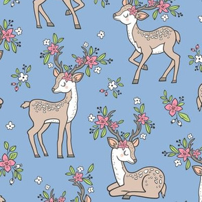 Dreamy Deer with Flowers Floral Woodland Forest on Blue