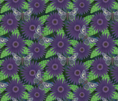purple gerbera daisies with midnight moths fabric by sarahkdesigns on Spoonflower - custom fabric