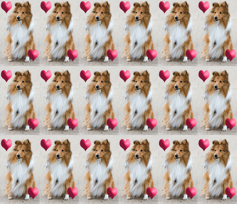 shelty_with_hearrts fabric by dogdaze_ on Spoonflower - custom fabric