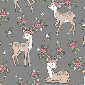 Dreamy Deer with Flowers Floral Woodland Forest on Dark Grey