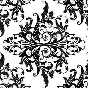Calvarium Damask Railroaded - black on white