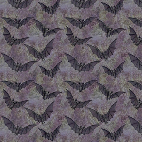 black bats on mottled purple