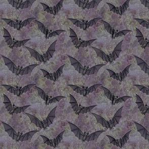 black bats on mottled purple