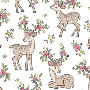 Dreamy Deer with Flowers Floral Woodland Forest on White