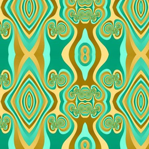 Diamond and Loops Op Art Fractal in Turquoise and Gold_Tones