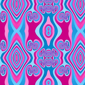 Diamond and Loops Op Art Fractal in Pinks and Sky Blues