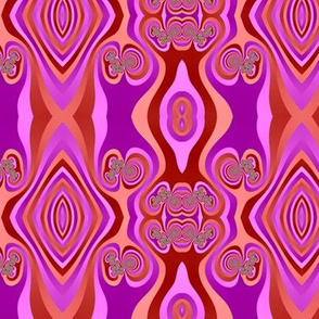 Diamond and Loops Op Art Fractal in Purples and Corals