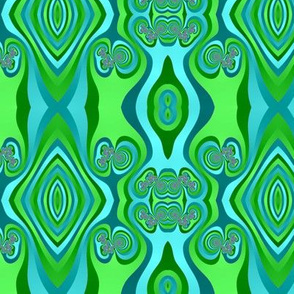 Diamonds and Loops Op Art Fractal in Greens and Light Blues