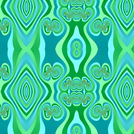 Diamonds and Loops Op Art Fractal in Greens and Turquoise fabric by eclectic_house on Spoonflower - custom fabric