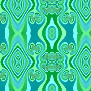 Diamonds and Loops Op Art Fractal in Greens and Turquoise