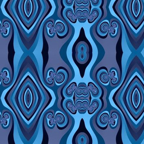 Diamonds and Loops Op Art Fractal in Lavenders and Slate Blues