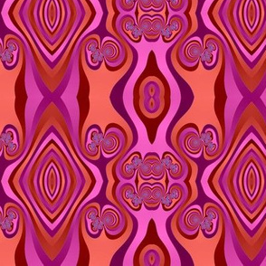 Diamonds and Loops Op Art Fractal in Pinks and Oranges