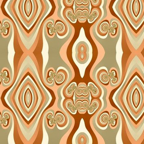 Diamonds and Loops Op Art Fractal in Sand Beige and Orange Browns