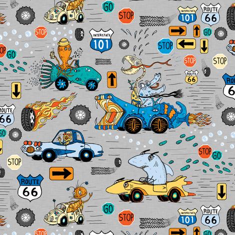 pimp my ride, large scale, gray grey blue yellow orange fabric by amy_g on Spoonflower - custom fabric
