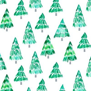 holiday trees - green watercolor