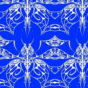 Interlocked Butterfly on Blue