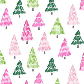 holiday trees - pink and green - painted