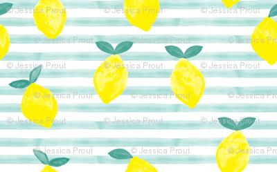 (micro print) lemons - watercolor stripes (blue)