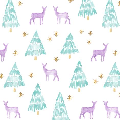 winter deer - lavender  fabric by littlearrowdesign on Spoonflower - custom fabric