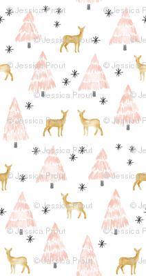 (micro print) holiday deer - blush