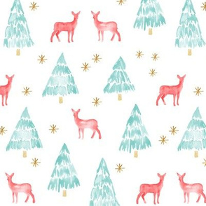 winter deer - teal and red