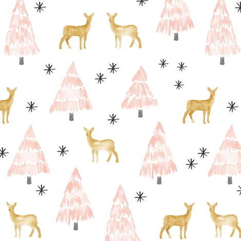 holiday deer - blush fabric by littlearrowdesign on Spoonflower - custom fabric