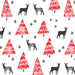 winter deer - red and black