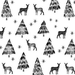 winter deer - black and white