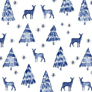 winter deer - blue